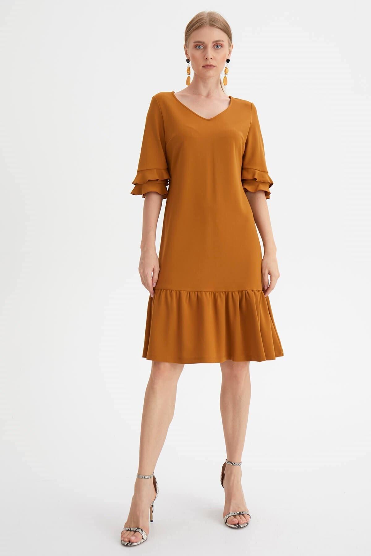 Chima Kadın Sarı Eteği Volanlı Elbise 1
