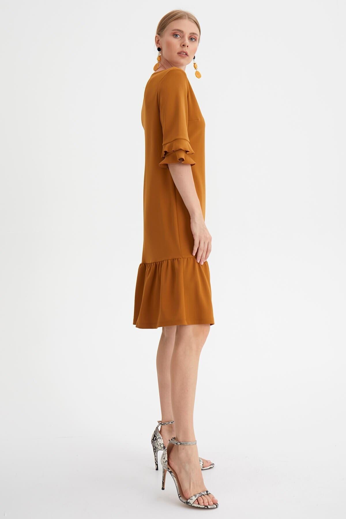 Chima Kadın Sarı Eteği Volanlı Elbise 2