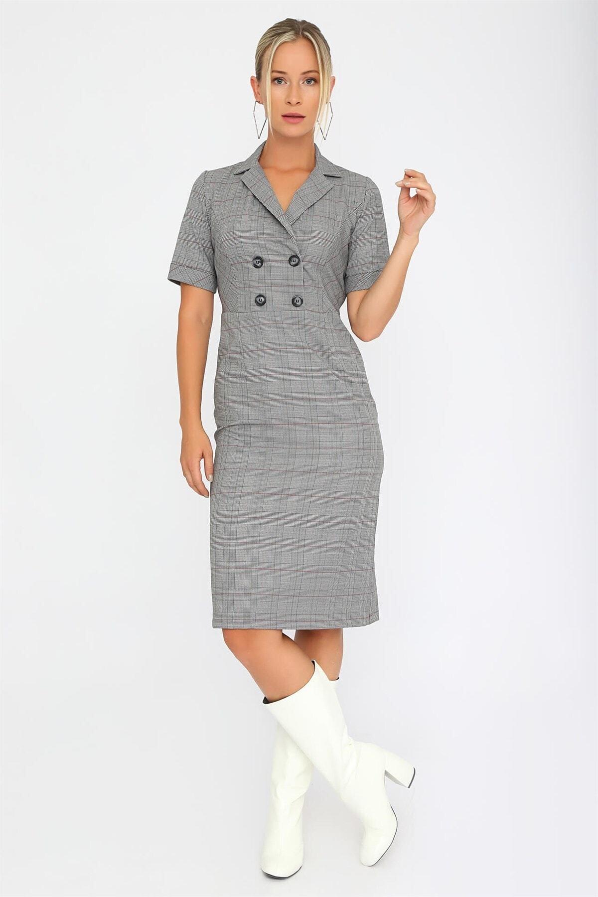 Chima Ekose Kruvaze Elbise 1