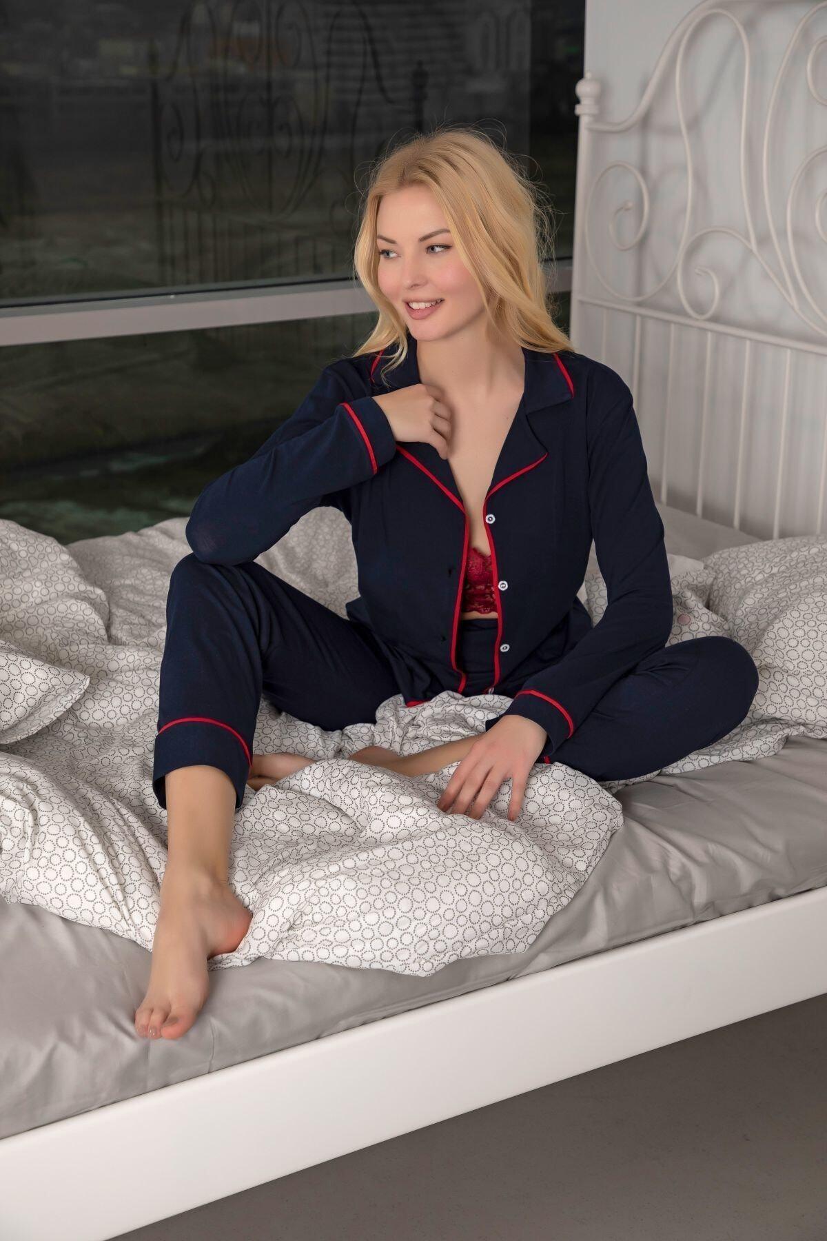 Huq Moda Lacivert Pamuklu Likralı Biyeli Pijama Takımı - Lacivert Kırmızı 1