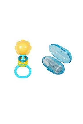 Bambino Parmak Diş Kaşıyıcı Mavi+wee Baby Çıngırak