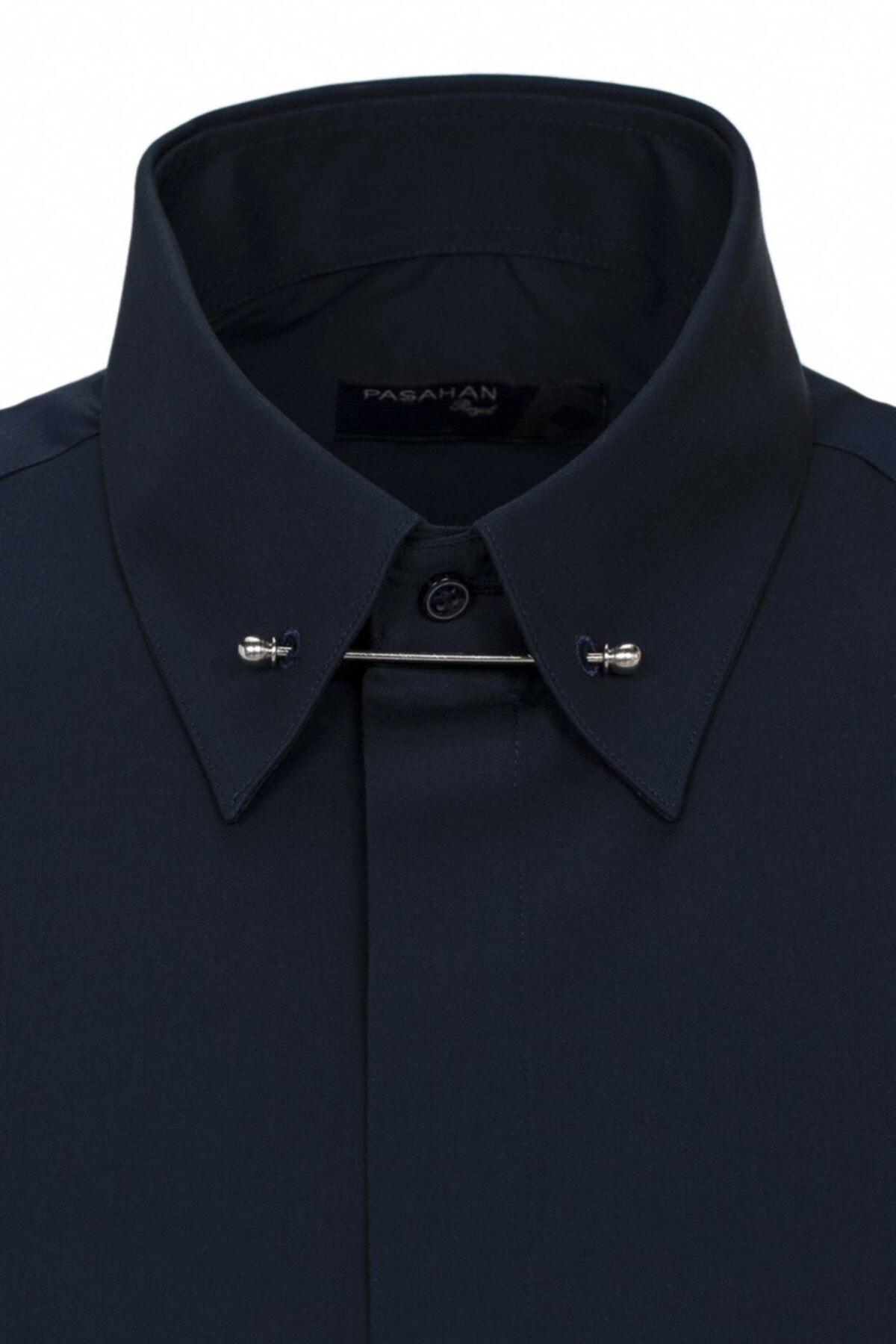 Paşahan Erkek Lacivert Slim Fit Yaka İğneli Gömlek 2