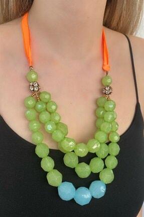 TAKIŞTIR Kadın Yeşil Tasarım Boncuklu Kolye