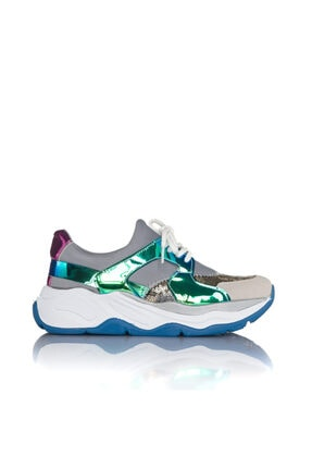 İnci Kadın Gri Vegan Süet Dalgıç Slip On Bağcıklı Klasik Spor Ayakkabı -3002