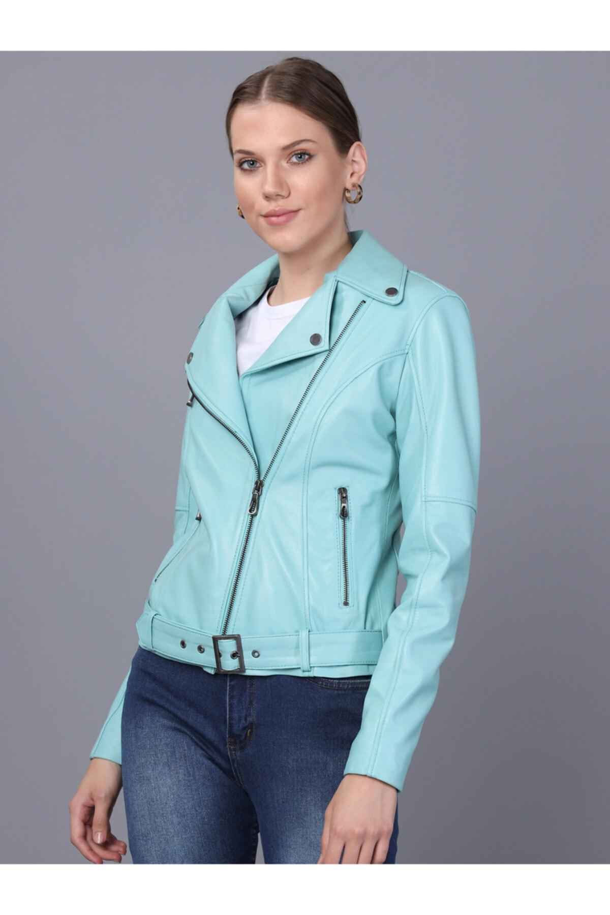 Basics&More Kadın Mint Deri Ceket 1