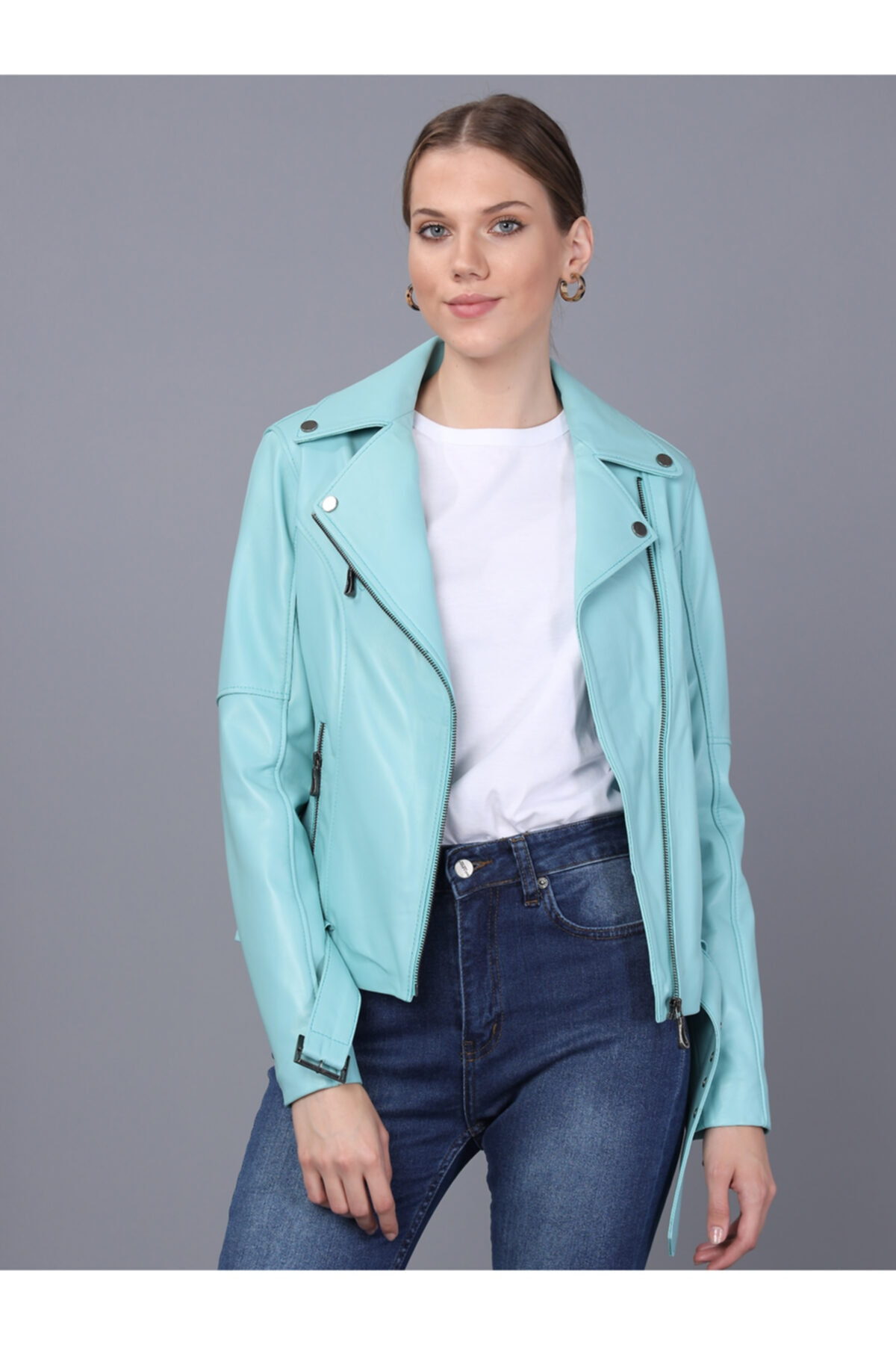 Basics&More Kadın Mint Deri Ceket 2