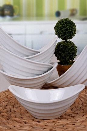 Keramika Beyaz Gondol Çerezlik / Sosluk 16 Cm 6 Adet