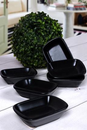 Keramika Mat Siyah Dikdörtgen Çerezlik / Kayık 13 Cm 6 Adet