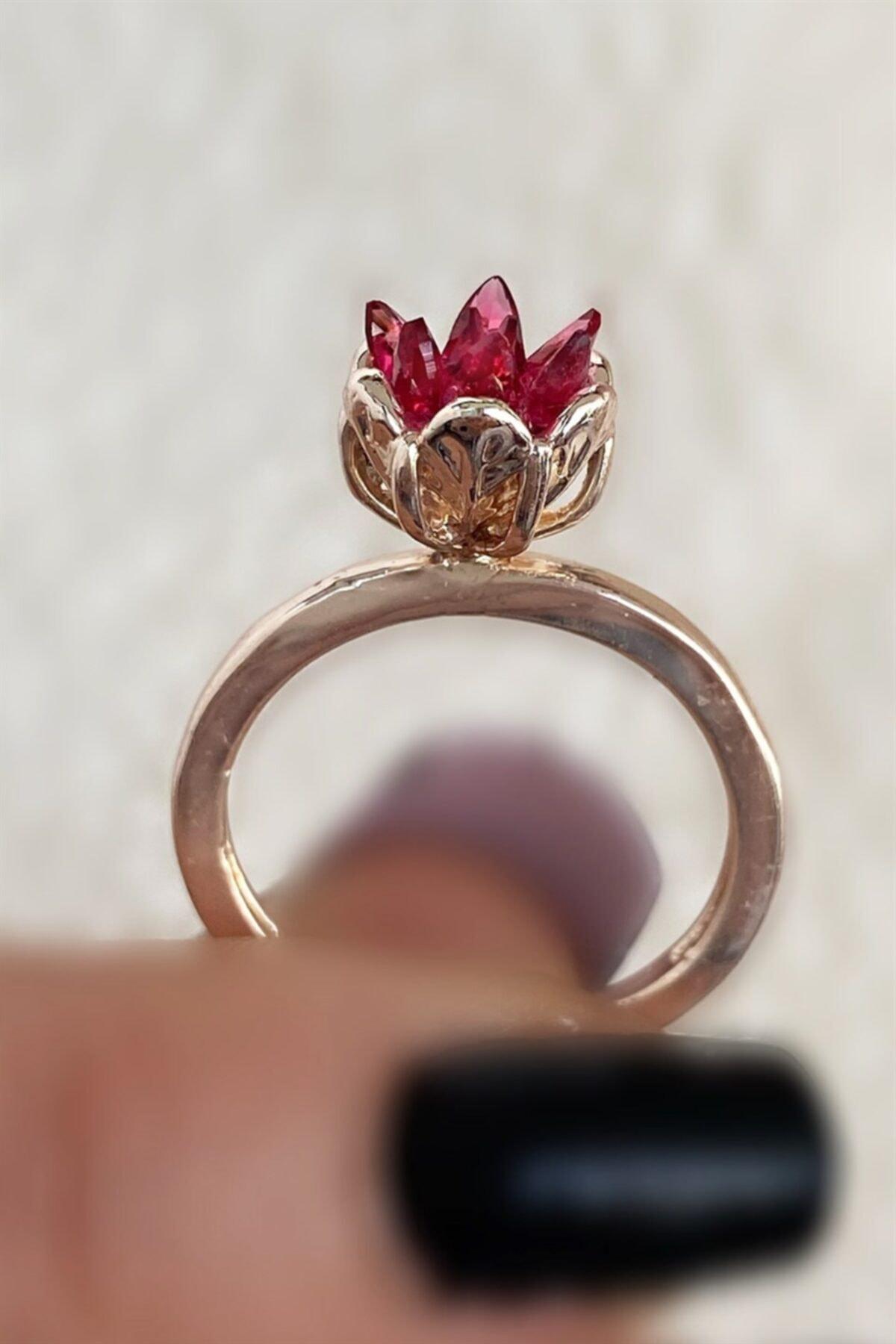 TAKIŞTIR Rose Renk Kırmızı Lotus Çiçeği Figürlü Ayarlanabilir Yüzük 1