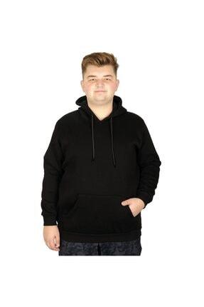 ModeXL Erkek Sweatshirt Kapşonlu Kanguru Pocket Basic 20562 Siyah