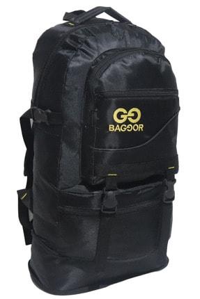 Baggor 65 Litre Körüklü Siyah Su Geçirmez Çok Gözlü Laptop Bölmeli Kampçı-seyahat-dağcı Sırt Çantası