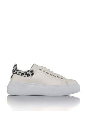 İnci Kadın Beyaz Vegan Cilt Leopar Bağcıklı Klasik Spor Ayakkabı -3004