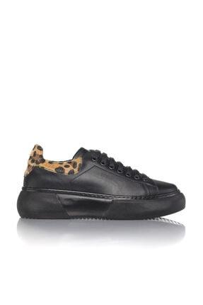 İnci Kadın Siyah Vegan Cilt Leopar Bağcıklı Klasik Spor Ayakkabı -3004