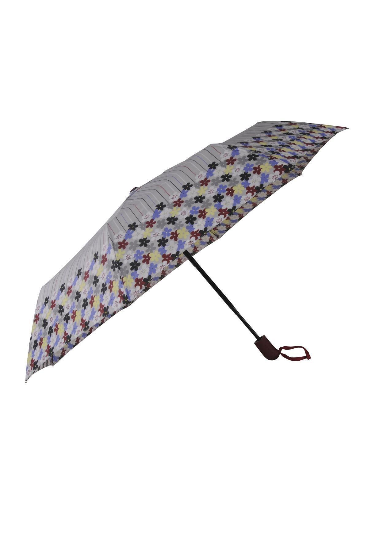 TREND Tam Otomatik Şemsiye Çiçek Desenli Gri 6638 1