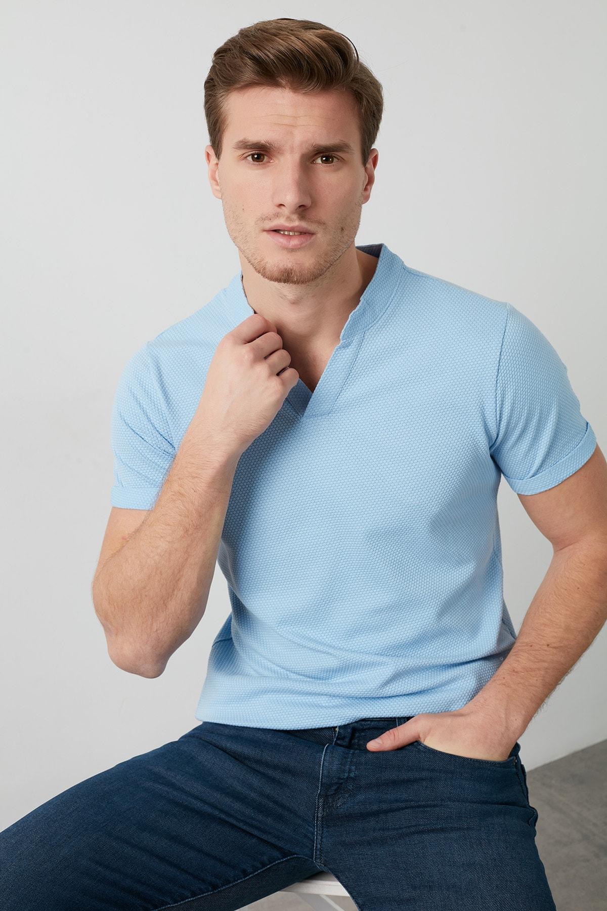 Buratti Erkek MAVİ V Yaka Rahat Kesim Basic T Shirt CF20S214365