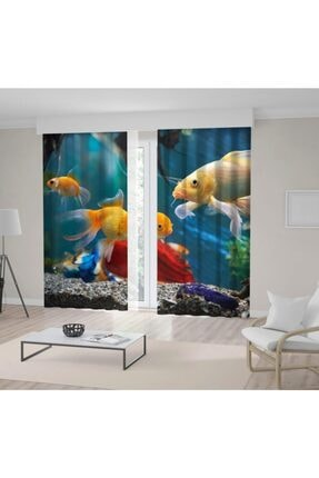Henge Home Akvaryum Japon Balık Deseni Fon Perde