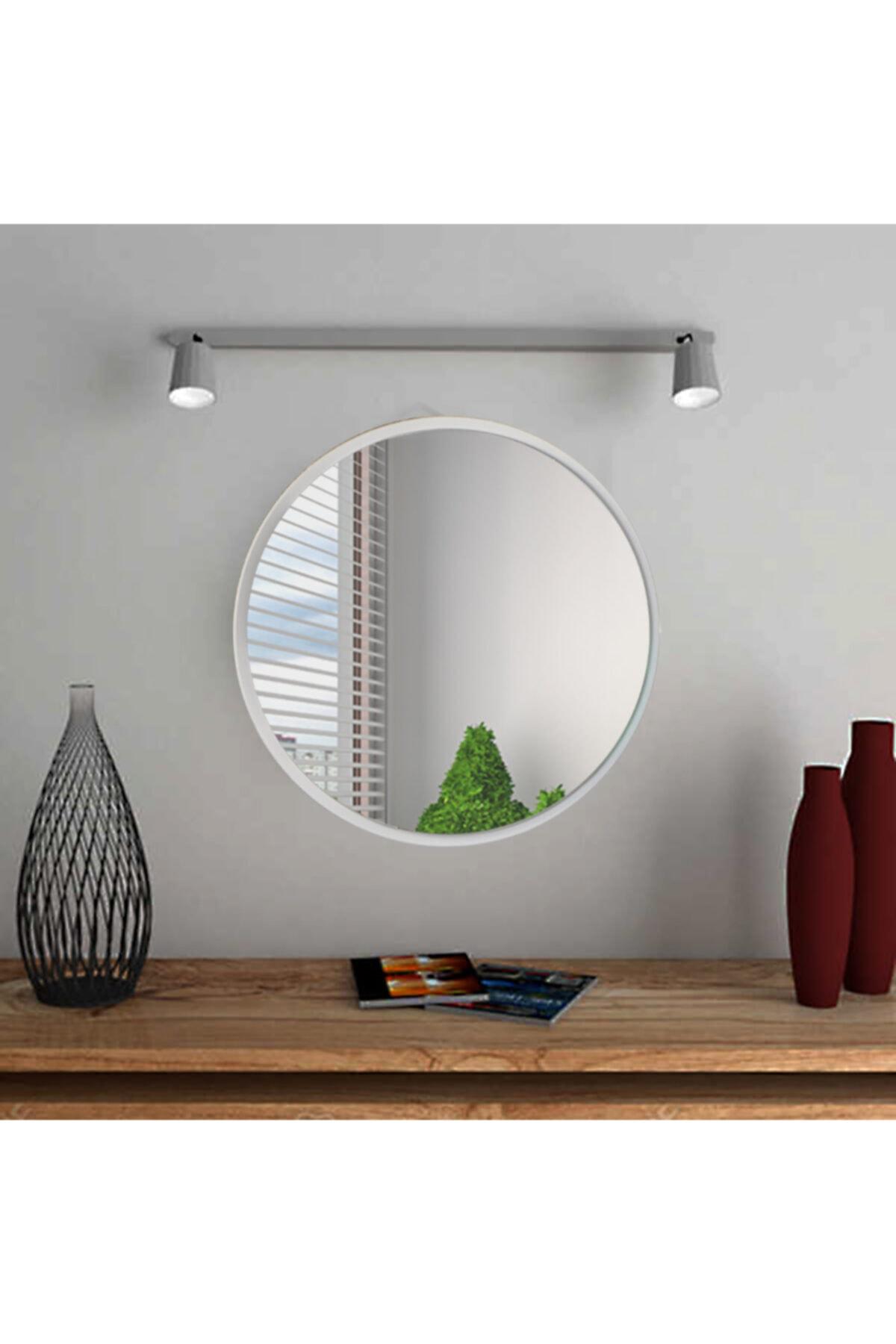 bluecape Yuvarlak Beyaz Duvar Salon Ofis Aynası 60cm 2