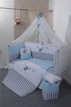 Mini Baby Acqua Mavi Beşik Bebek Uyku Seti 60x120