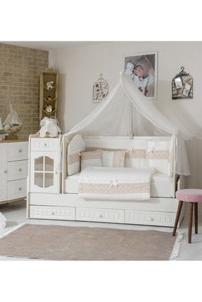 Mini Baby Inci Capy Bebek Uyku Seti 10 Parça Cibinlik Ve Aparatı 80x130