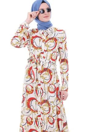 Bigdart Kadın Turuncu Bel Kuşak Boydan Düğmeli Elbise 1588
