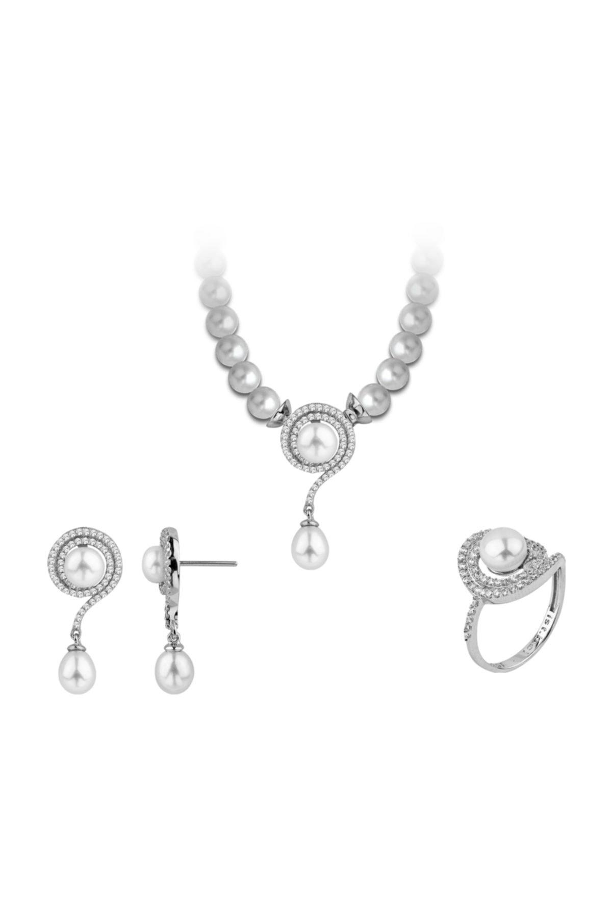 Chavin Inci Gümüş Kolye Küpe Yüzük Takım Set Ee04 1