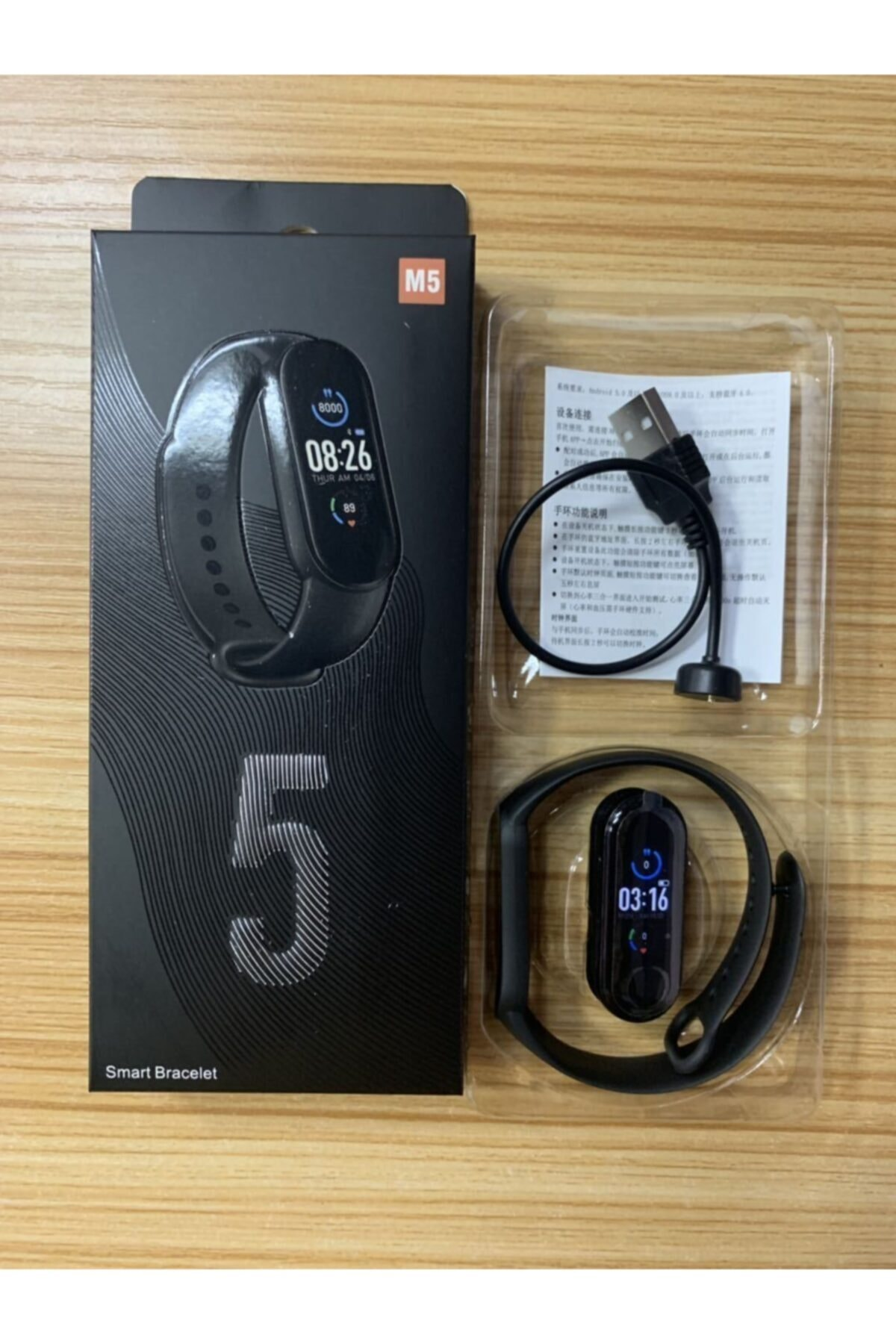 M5 Smart Bracelet M5 Akıllı Bileklik Saat Adım Sayar Ateş Nabız Ölçer Facebook Uyku Yürüyüşü Spor 2