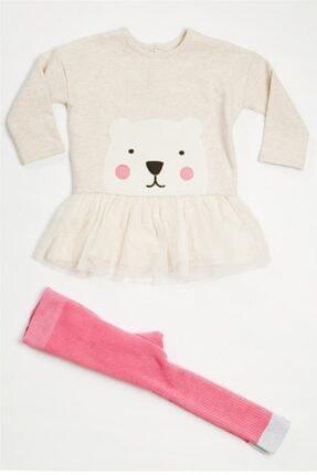 Wonder Kıds Kız Bebek Ekru Baskılı Tunik ve  Fuşya Külotlu Çorap Takım Mk20aw02031
