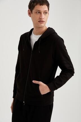 DeFacto Kapüşonlu Slim Fit Fermuarlı Basic Sweatshirt'
