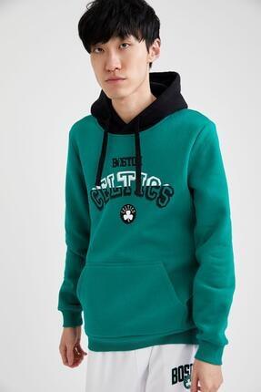 DeFacto Erkek Yeşil Nba Lisanslı Slim Fit Kapüşonlu Sweatshirt