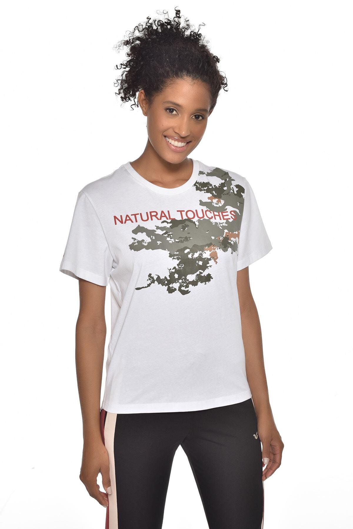 bilcee Kadın Beyaz Baskılı T-Shirt Gw-9216 1