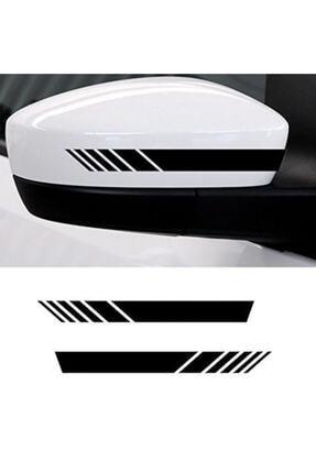 Quart Aksesuar Yan Ayna Oto Şerit Sticker, Araba Sticker Siyah 6 Adet 15 X 2 Cm