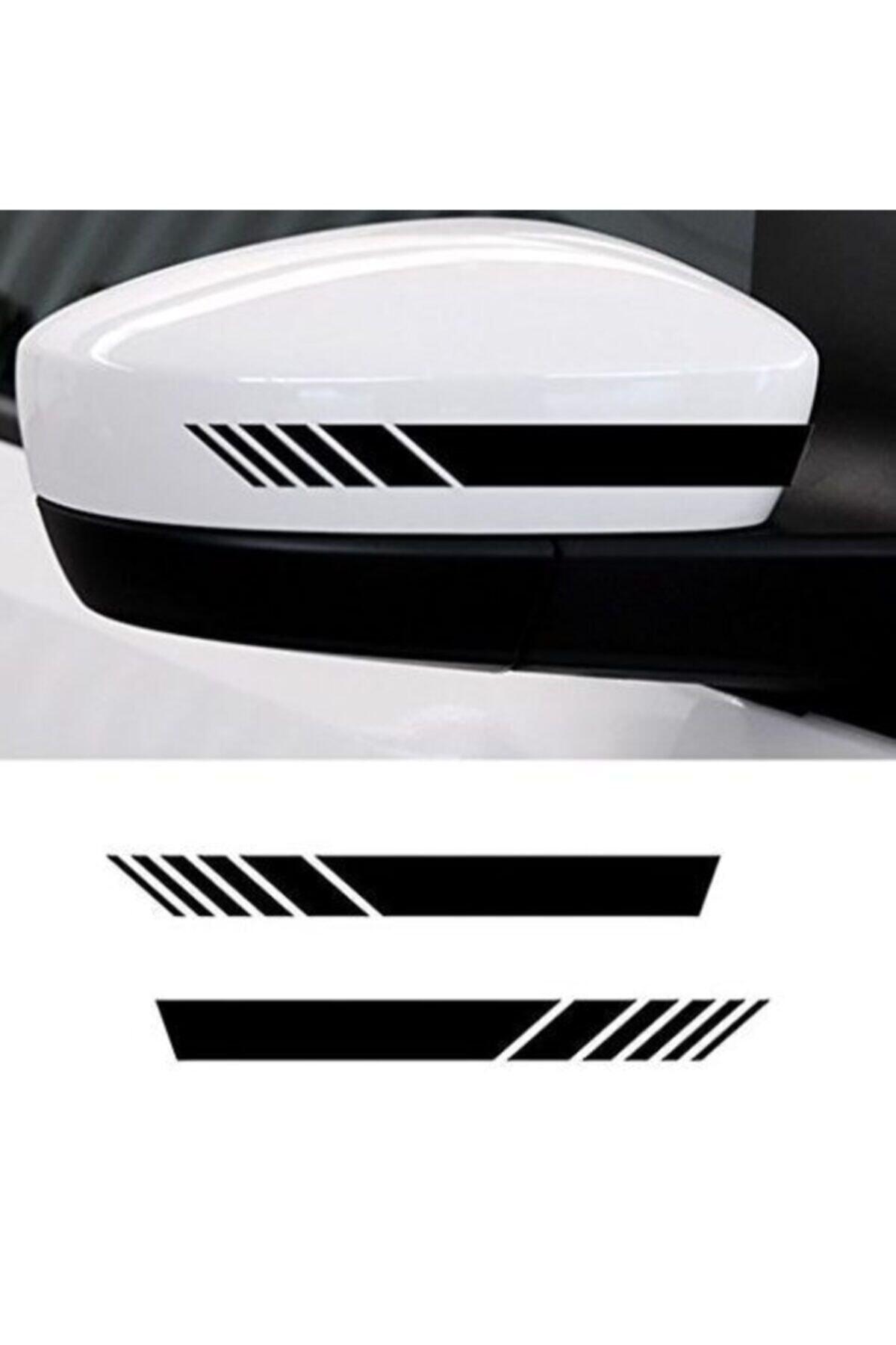Quart Aksesuar Yan Ayna Oto Şerit Sticker, Araba Sticker Siyah 6 Adet 15 X 2 Cm 1