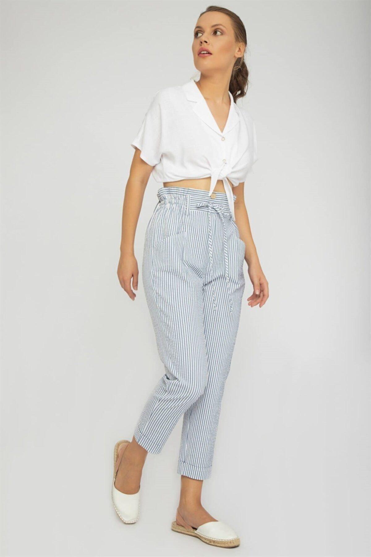 Chima Kadın Mavi Çizgili Beli Bağcıklı Pantolon 2