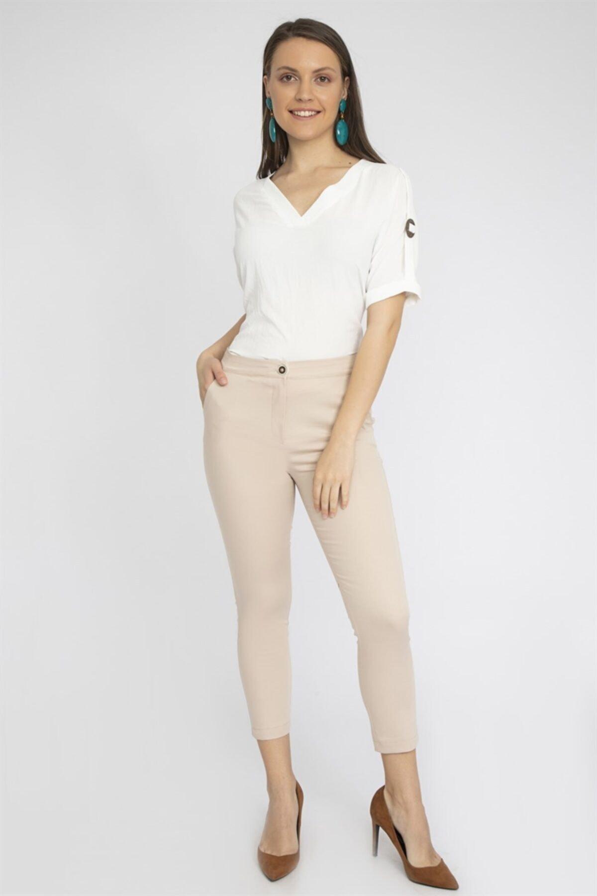 Chima Kadın Bej Slim Fit Pantolon Y19Pa223 1