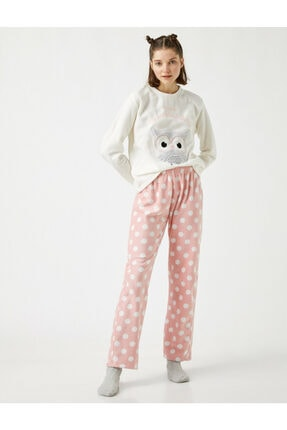Koton Kadın Pembe Slogan Polar Pijama Takimi