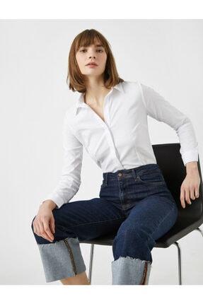 Koton Kadın Beyaz Pamuklu Gömlek