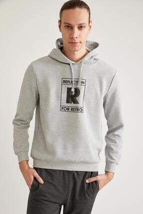 DeFacto Erkek Gri Baskılı Kapüşonlu Slim Fit Sweatshirt