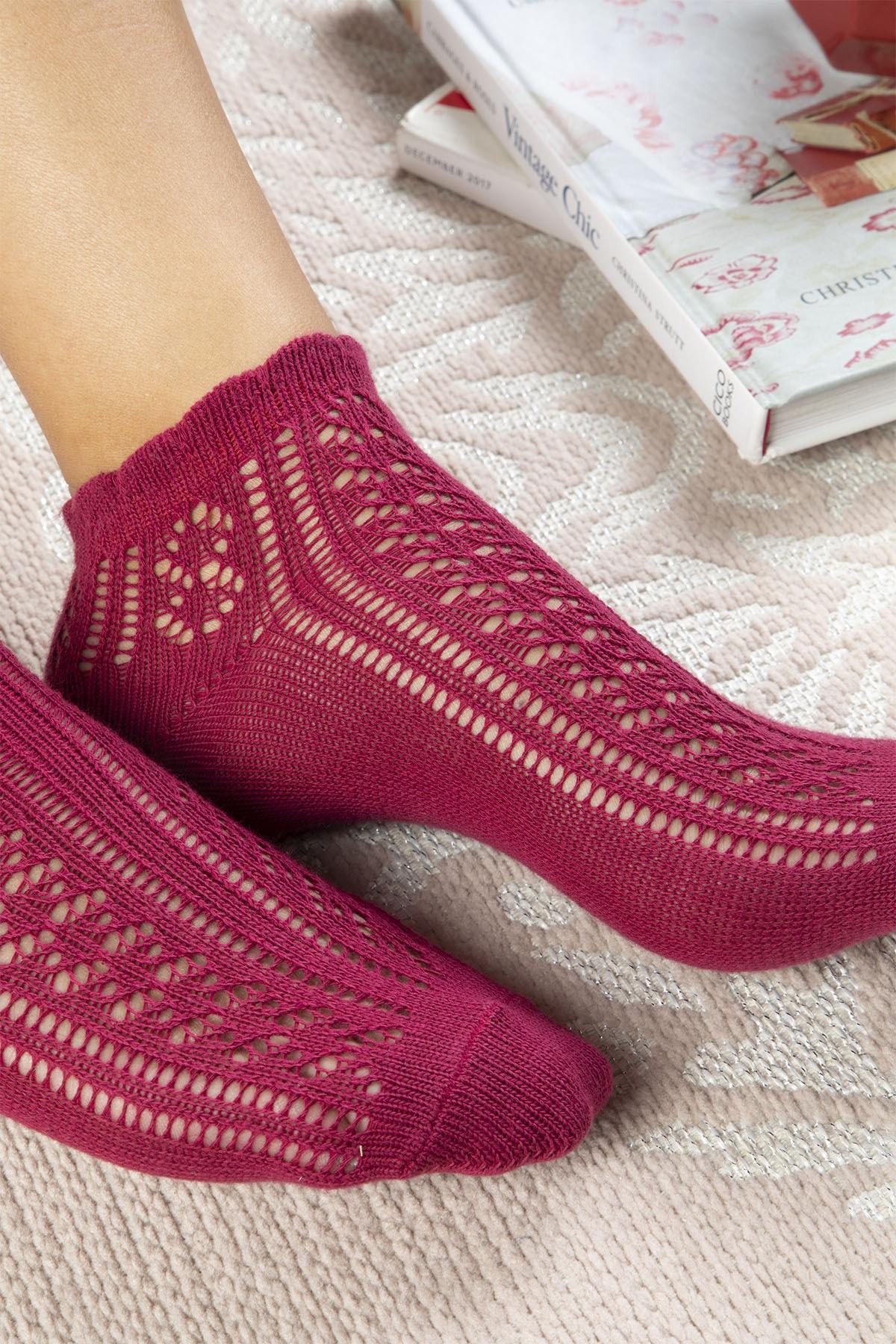 English Home Fishnet Pamuk Kadın Çorap Standart Bordo 2