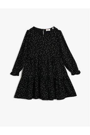 Koton Kız Çocuk Siyah Puantiyeli Uzun Kollu Bisiklet Yaka Elbise