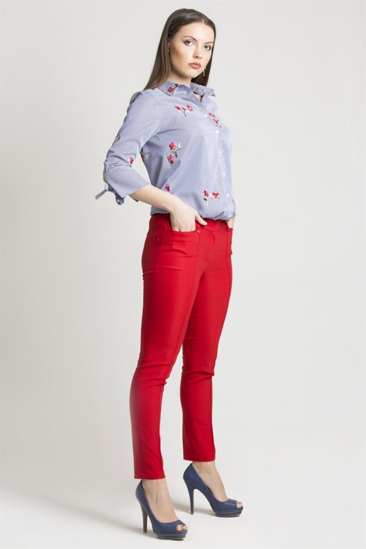 Chima Kadın Kırmızı Z Cep Pantolon 1