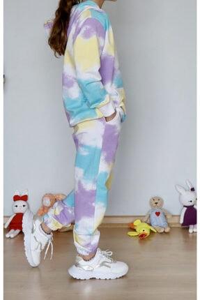 PUKRİNORA Batik Desen Kız Çocuk Sweat Shirt Renkli Kız Eşofman Takım Atlıkarınca Eşofman