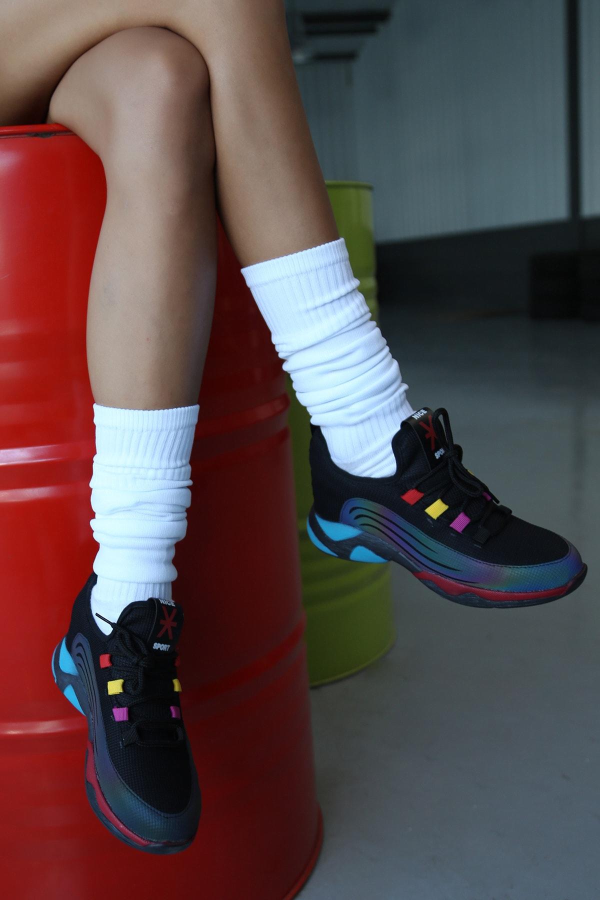 Ayakkabı Modası Kadın Siyah Düz Taban Sneaker 1
