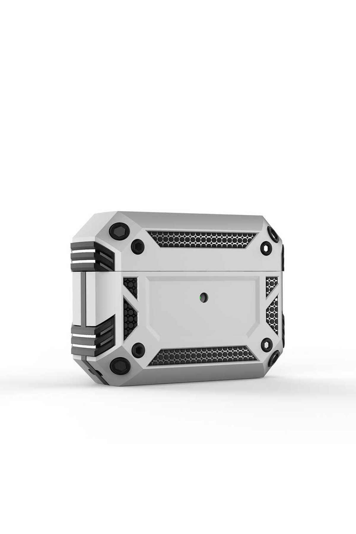 zore Airpods Pro Uyumlu Kılıf Airbag 15 Zırh Koruma Askılı Şarj Kutusu Koruyucu Gümüş 1