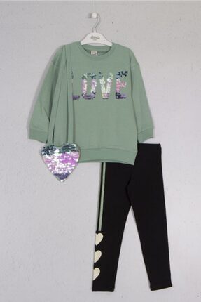 Dmb Kız Çocuk Yeşil Çantalı Taytlı Takım