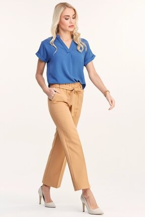 Fulla Moda Kadın Camel Beli Lastikli Pantolon