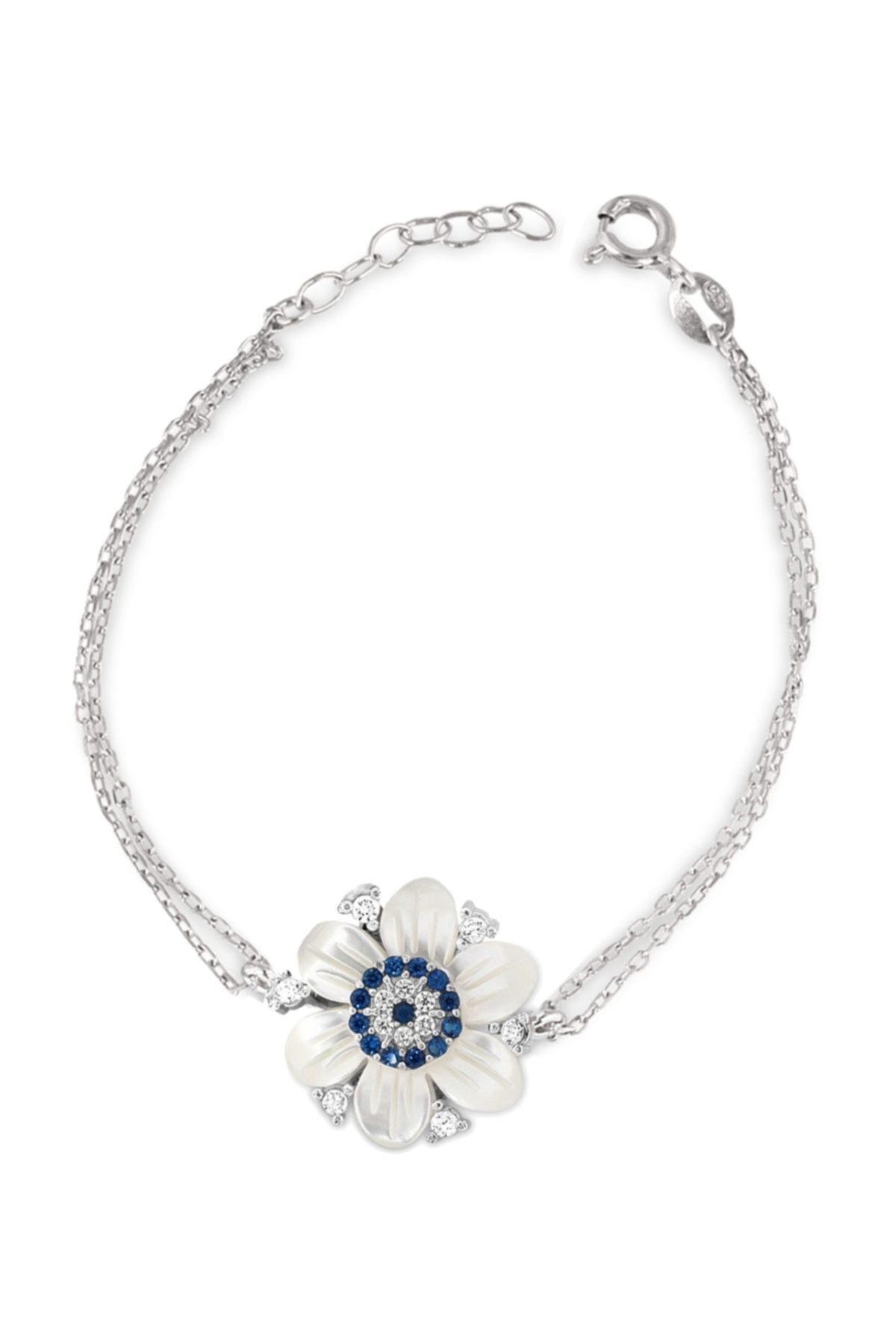 Chavin Kadın Beyaz Sedefli Çiçek Nazar Gümüş Bileklik Cs82 1