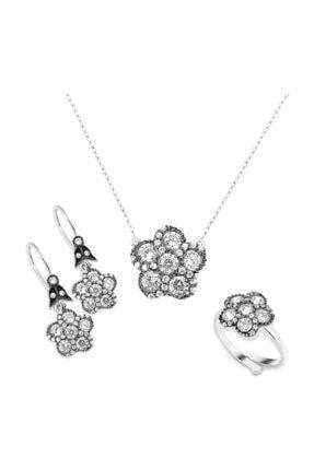 Chavin Kadın Beyaz Elmas Tasarım Gümüş Kolye Yüzük Küpe Set Cz56