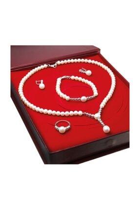 Chavin Kadın Beyaz İnci Gümüş Kolye Küpe Bileklik Yüzük Takım Set Ds33