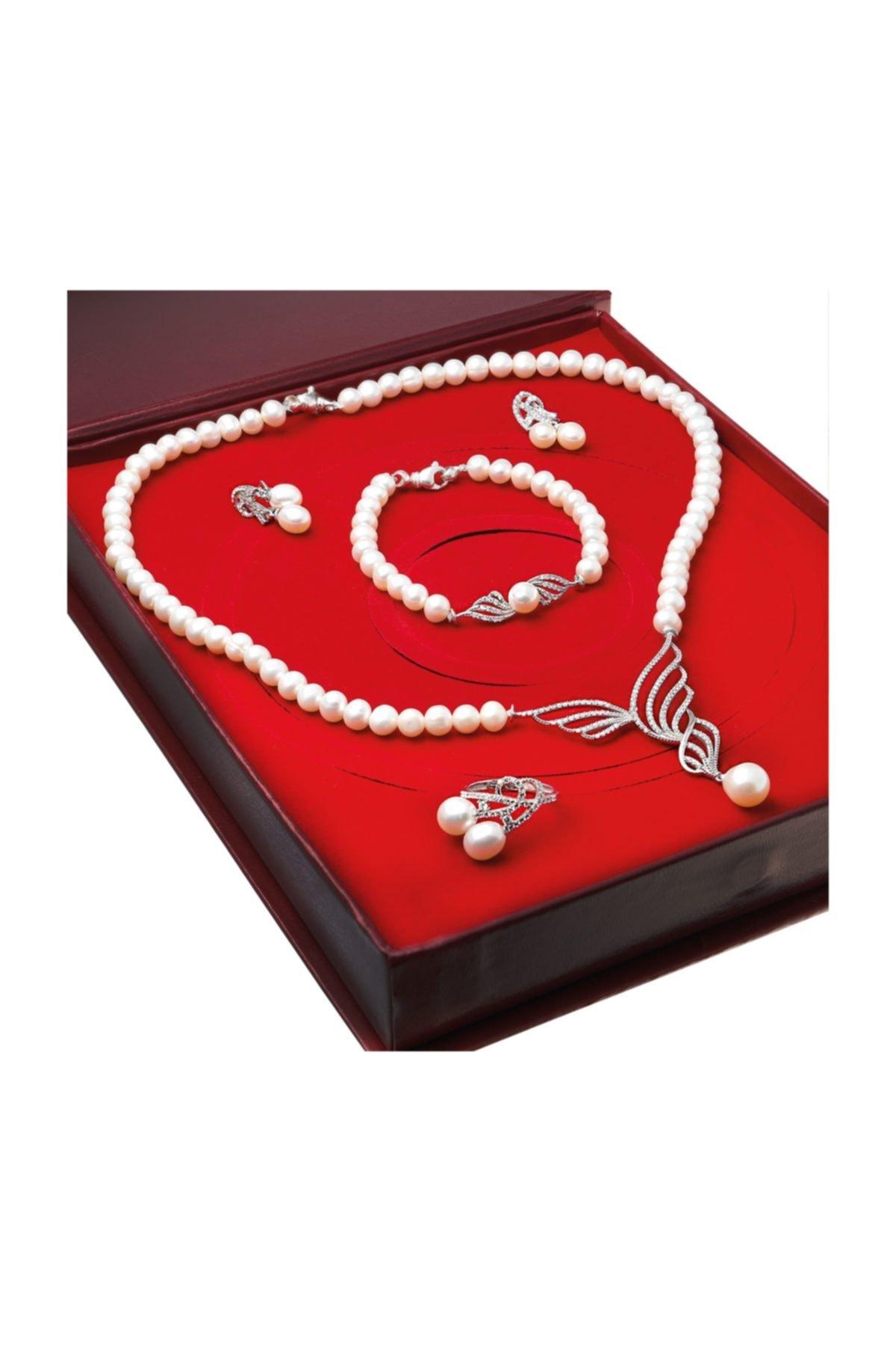 Chavin Kadın Beyaz İnci Gümüş Kolye Küpe Bileklik Yüzük Takım Set ds37 1
