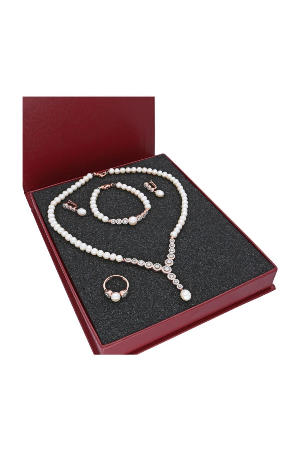 Chavin Kadın Beyaz Pembe Altın İnci Gümüş Kolye Küpe Bileklik Yüzük Takım Set dz42 2